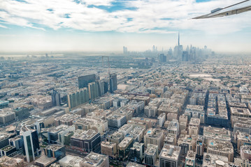 Wall Mural - Aerial view of Dubai skyline seen from plane, United Arab Emirates