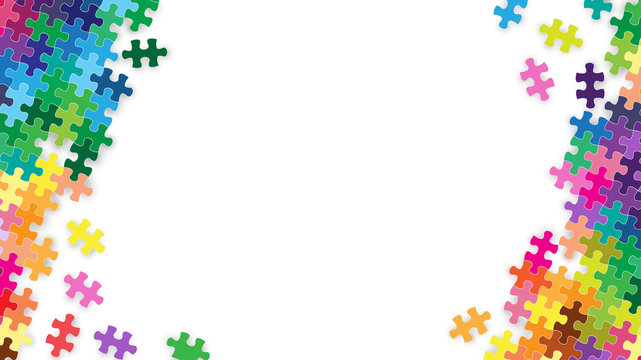 White blank space center and colorful rainbow jigsaw puzzles piece frame background