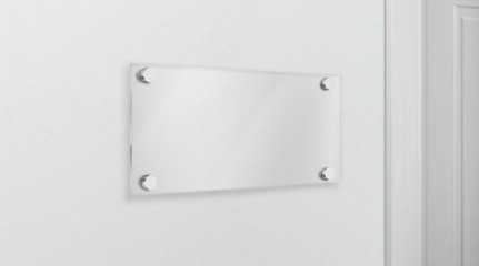 Empty glass name plate bolted to wall near doorway. Poster, banner empty holder, picture transparent frame mock-up. Office, exhibition gallery interior design element 3d realistic vector illustration