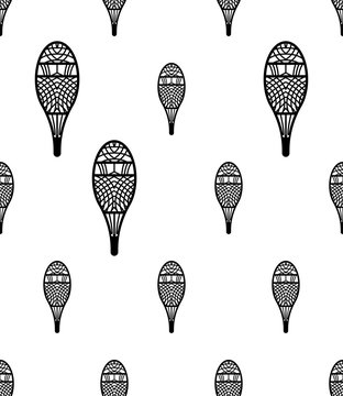 Traditional Snowshoes Icon Seamless Pattern, Winter Snow Equipment