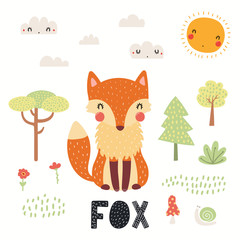 Hand drawn vector illustration of a cute fox in the forest, woodland landscape, with text. Isolated objects on white background. Scandinavian style flat design. Concept for children print.