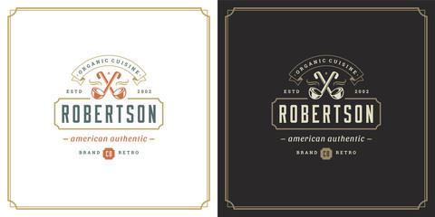 Restaurant logo template vector illustration soup ladles symbol and decoration good for menu and cafe sign.