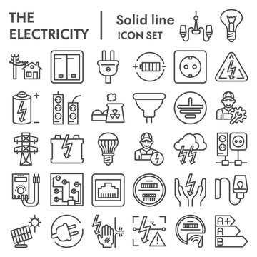 Electricity line icon set, power symbols collection, vector sketches, logo illustrations, electrician energy signs linear pictograms package isolated on white background, eps 10.