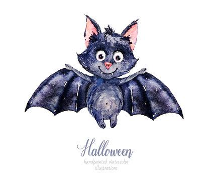 Watercolor Halloween. Halloween animal. Bat. Watercolor illustration
