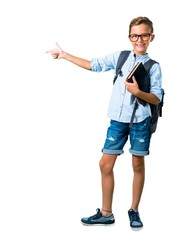 Full body of Student boy with backpack and glasses pointing finger to the side and presenting a...