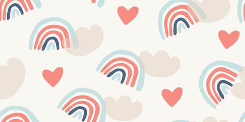 Childish seamless pattern with rainbows, hearts