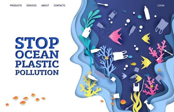 Stop ocean plastic pollution vector website landing page design template