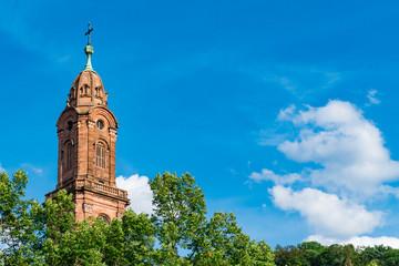 Tower of Jesuit Church in Heidelberg, Germany. Copy space