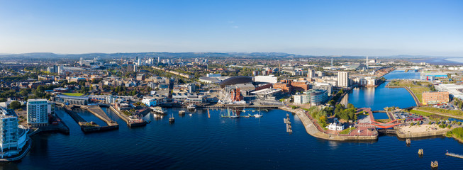 Aerial view of Cardiff Bay, the Capital of Wales, UK 2019 on a clear sky summer day Wall mural