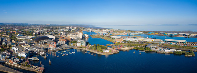 Aerial view of Cardiff Bay, the Capital of Wales, UK 2019 on a clear sky summer day Fototapete
