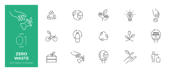 Set of Zero waste line icons - Modern icons