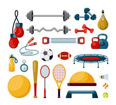 Fitness tools flat vector illustrations set. Various balls