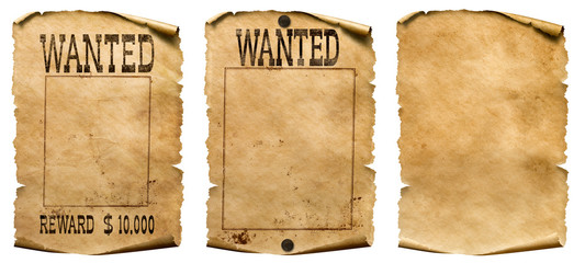 Wild west wanted posters set isolated on white Fotomurales