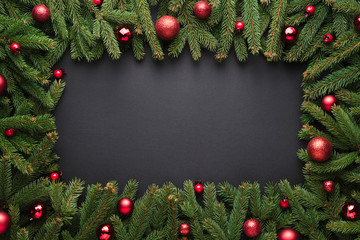 Christmas or New Year dark background with frame