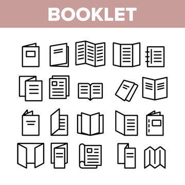 Booklet And Brochure Collection Icons Set Vector Thin Line. Booklet And Letterhead, Flyer And Leaflet, Corporate Catalogue And Envelope Concept Linear Pictograms. Monochrome Contour Illustrations