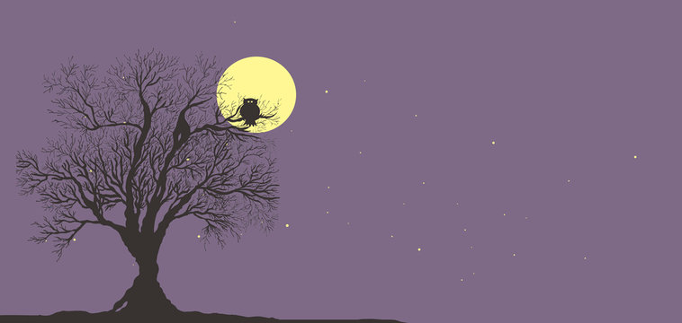 tree and owl on background of full yellow moon and purple starry sky
