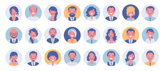 Business people avatar big bundle set. Businessmen and businesswomen face icons, character pic to represent online user in social net. Vector flat style cartoon illustration isolated, white background Fototapete