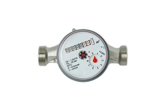 water meter isolated white background