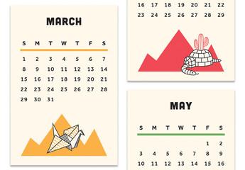 Calendar Layout with Rainbow Graphics