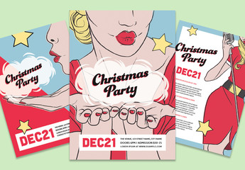 Christmas Party Layout Pack with Illustrative Elements