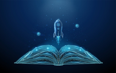 Open book and flying rocket with stars and planets.