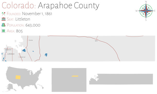 Large and detailed map of Arapahoe county in Colorado, USA