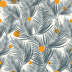 Wall Mural - Palm leaves seamless orange round white background