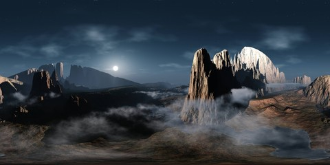 Alien landscape. Canyon. HDRI, environment map , Round panorama, spherical panorama, equidistant projection, panorama 360