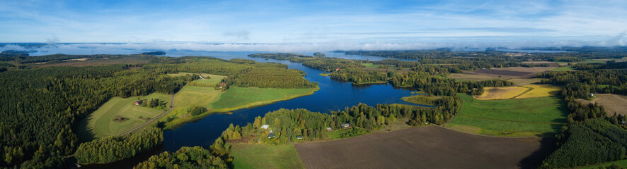 Printed kitchen splashbacks River Beautiful countryside landscape with fields, river, forest and huge lake. Aerial panorama of Finland on autumn.