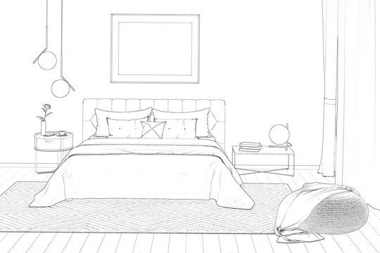 3d illustration. Sketch of the cozy bedroom with painting, a nightstand, a pouf, and a plaid. Front view