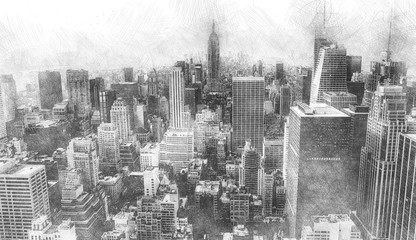 Realistic drawing of a big city with a graphite pencil style