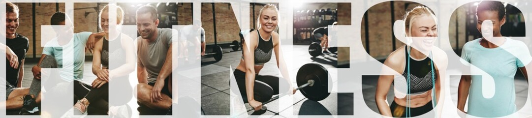 Collage of a smiling woman and friends at the gym