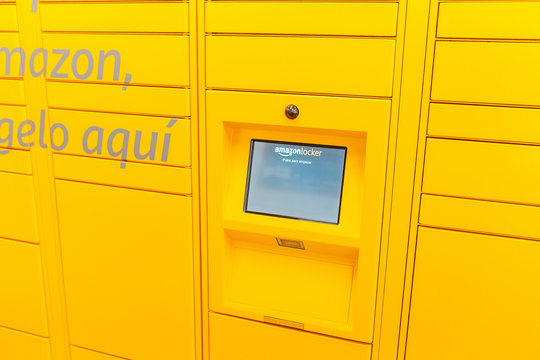 15 JULY 2018, TARRAGONA, SPAIN: Amazon locker delivery service