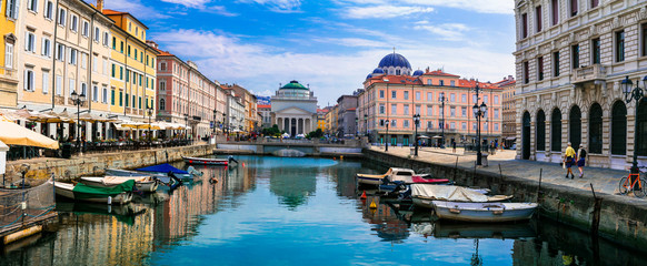 Landmarks and beautiful places (cities) of northern Italy - elegant Trieste with charming streets and canals