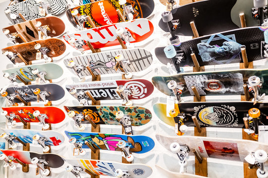 29 JULY 2018, BARCELONA, SPAIN: colorful skateboards for sale in shop
