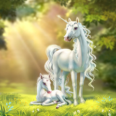 unicorn mom with a foal, on the background of the forest