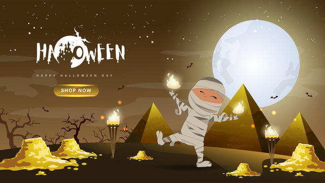 Little Cute Mummy with gold and pyramid on Dark night background.Banner of Happy Halloween Day. Creative and Modern design in EPS10 Vector Illustration.