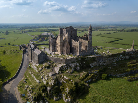 Rock of Cashel aerial view. Ireland, Co. Tipperary, April , 2019