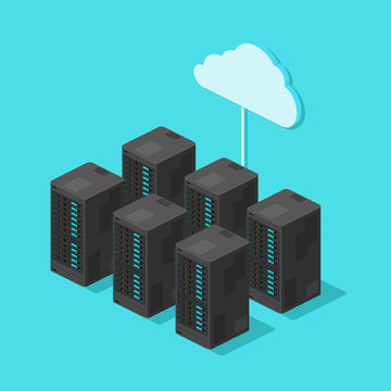 Isometric Server Hosting Cloud Technology Computing Network Hardware Vector Icon