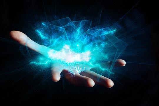 mano, aperta, ologramma, luce dalle mani, energia