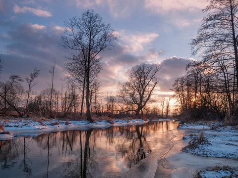 Sunset on Jeziorka river, Gorki Szymona, Piaseczno, Mazowsze, Poland