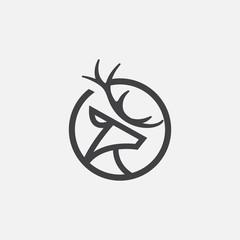 unique deer circular logo design icon, deer head circular icon, geometric deer logo concept, rain deer illustration