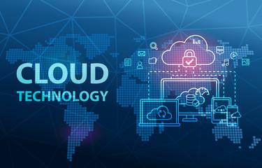 Cloud Technology Computing Network Data Storage Analytics Background