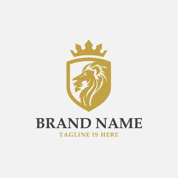 lion shield luxury logo icon, elegant lion shield logo design illustration, lion head with crown logo, lion shield symbol