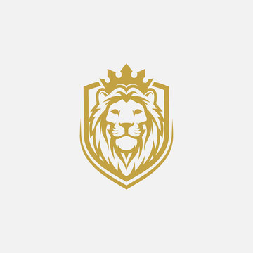 lion shield luxury logo icon, elegant lion shield logo design illustration, lion head with crown logo, lion shield symbol