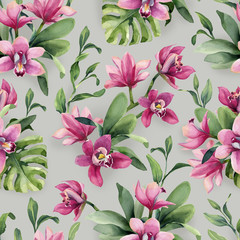 Seamless pattern of rose orchid flowers and leaves monstera on gray background.