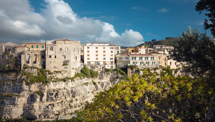 Tropea town in Calabria, Italy. View of the ancient buildings from the Monastery