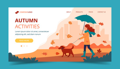 Woman walking a dog in autumn with umbrella. Landing page template. Cute vector illustration in flat style.