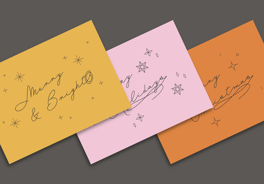 Christmas Card Layout Set with Line Art Illustration Elements