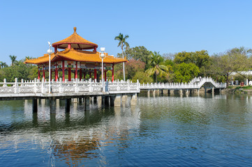 Wall Mural - A park with beautiful lake in Tainan, Taiwan